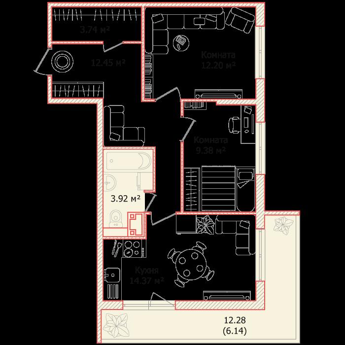 Планировка Двухкомнатная квартира площадью 62.2 кв.м в ЖК «Я - Романтик»