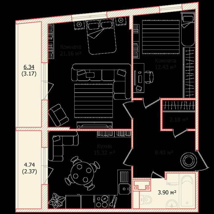 Планировка Двухкомнатная квартира площадью 68.93 кв.м в ЖК «Я - Романтик»