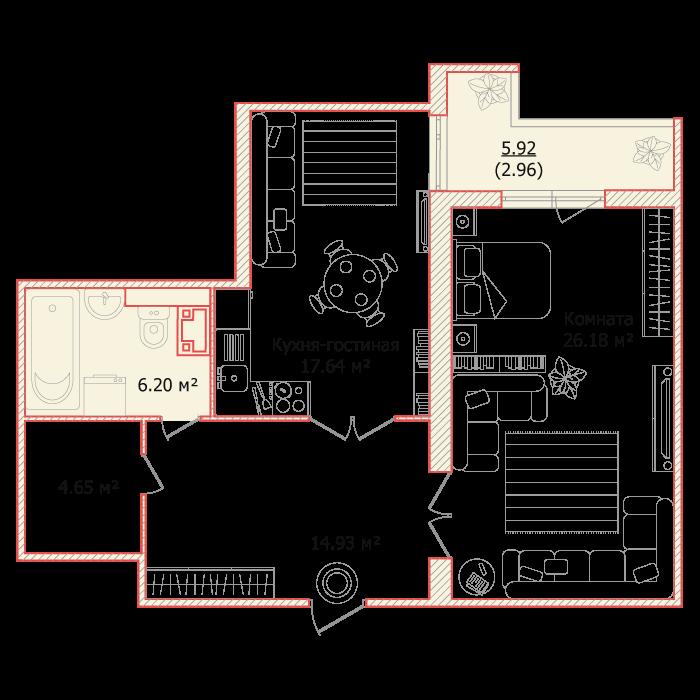 Планировка Однокомнатная квартира площадью 72.56 кв.м в ЖК «Я - Романтик»